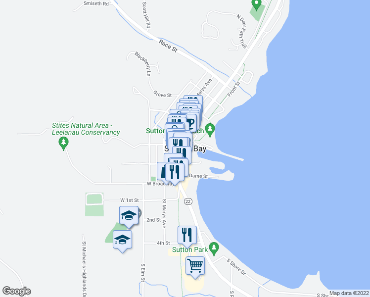 map of restaurants, bars, coffee shops, grocery stores, and more near in Suttons Bay