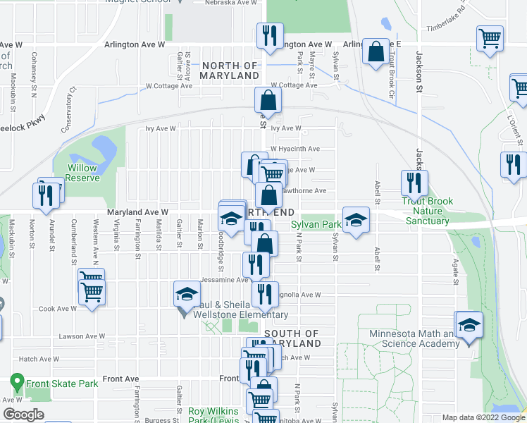 map of restaurants, bars, coffee shops, grocery stores, and more near Rice St & Maryland Ave W in Saint Paul