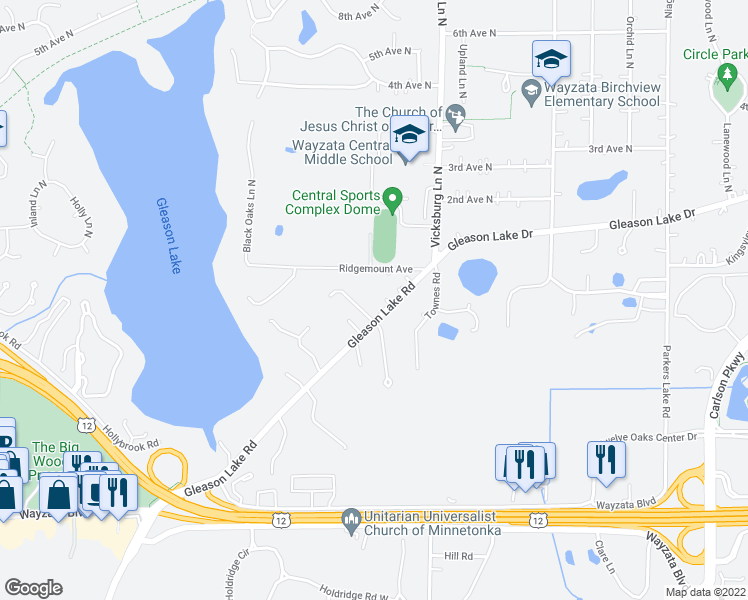 map of restaurants, bars, coffee shops, grocery stores, and more near 333 Whitegate Lane in Wayzata