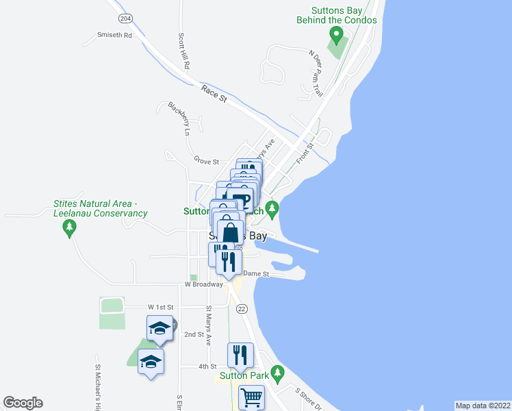 map of restaurants, bars, coffee shops, grocery stores, and more near 412 North Saint Joseph Street in Suttons Bay