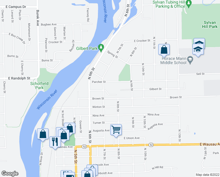 map of restaurants, bars, coffee shops, grocery stores, and more near 2901 North 7th Street in Wausau