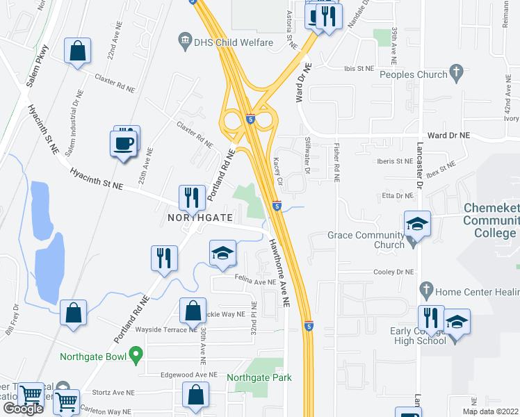 map of restaurants, bars, coffee shops, grocery stores, and more near 4261 Hawthorne Avenue Northeast in Salem
