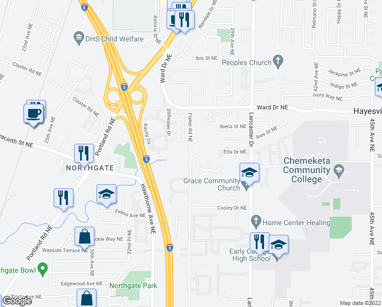 map of restaurants, bars, coffee shops, grocery stores, and more near 4162-4398 Fisher Road Northeast in Salem