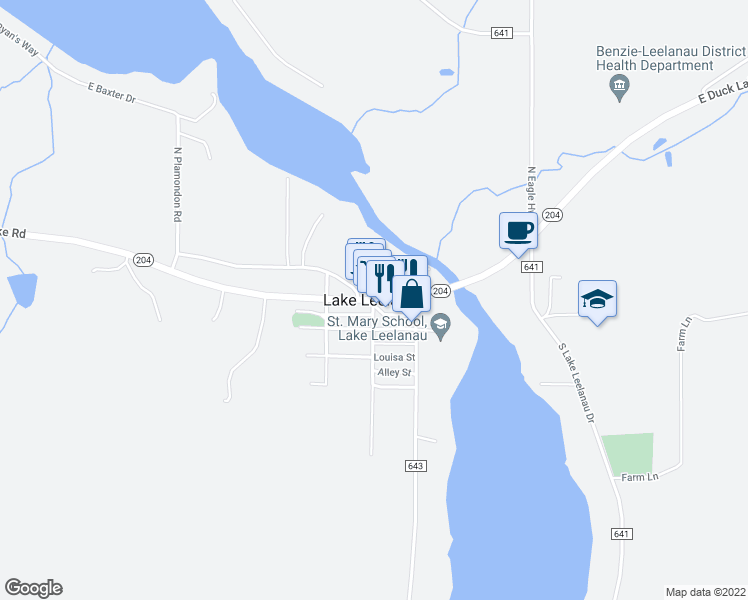 map of restaurants, bars, coffee shops, grocery stores, and more near in Lake Leelanau