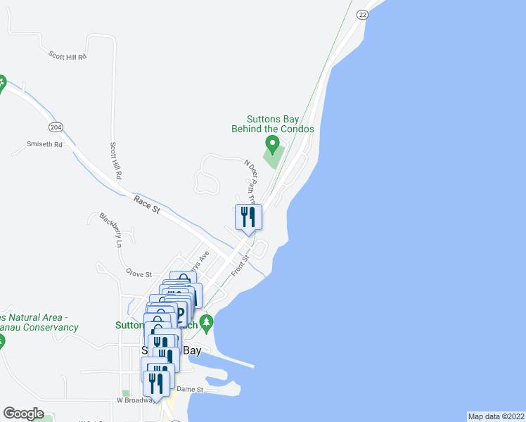 map of restaurants, bars, coffee shops, grocery stores, and more near 700 North Bay Cliff Drive in Suttons Bay