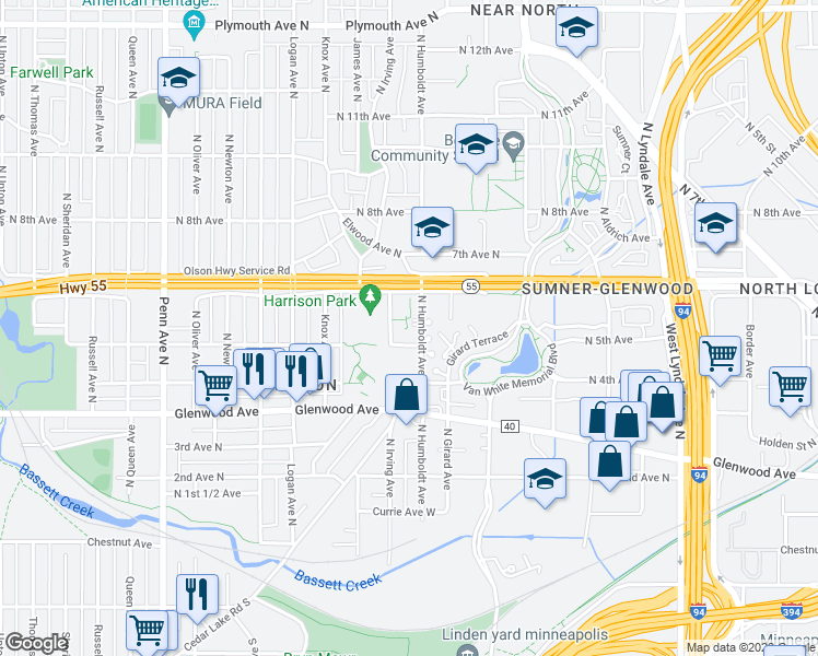 map of restaurants, bars, coffee shops, grocery stores, and more near 525 Humboldt Avenue North in Minneapolis
