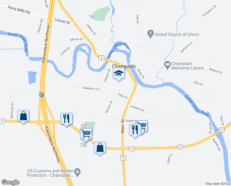 map of restaurants, bars, coffee shops, grocery stores, and more near Pine Street in Champlain