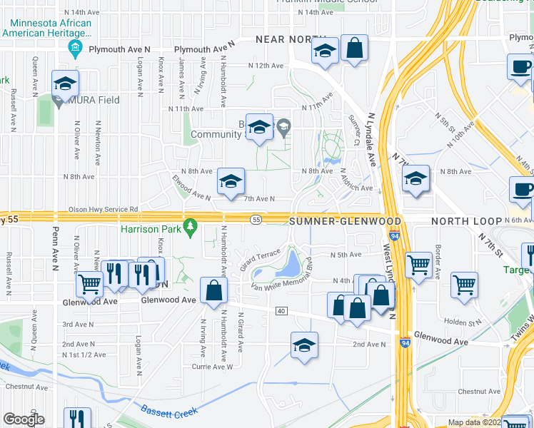 map of restaurants, bars, coffee shops, grocery stores, and more near 1221 7th Ave N in Minneapolis