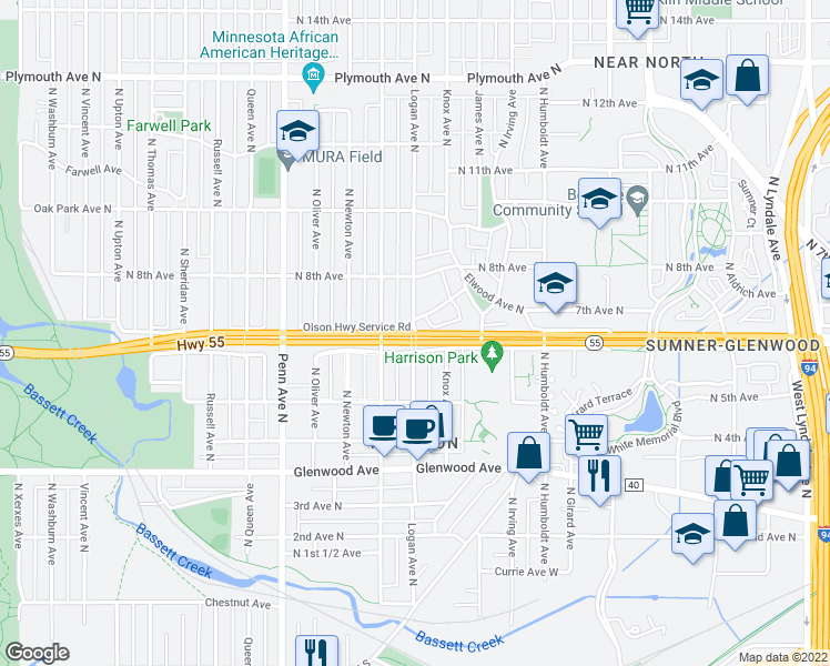 map of restaurants, bars, coffee shops, grocery stores, and more near Olson Memorial Hwy & N Logan Ave in Minneapolis