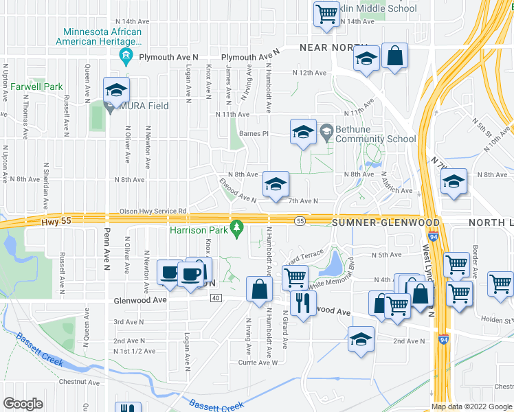 map of restaurants, bars, coffee shops, grocery stores, and more near 615 West Elmwood Place in Minneapolis