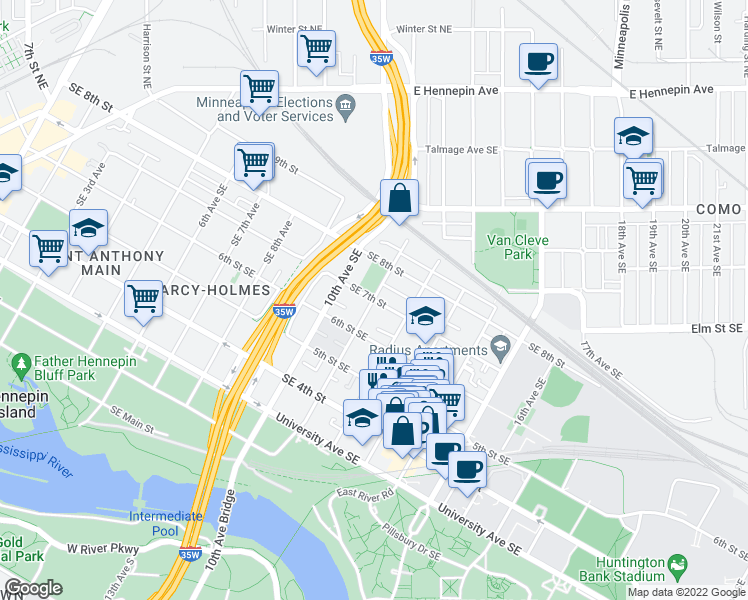 map of restaurants, bars, coffee shops, grocery stores, and more near 11th Avenue Southeast in Minneapolis