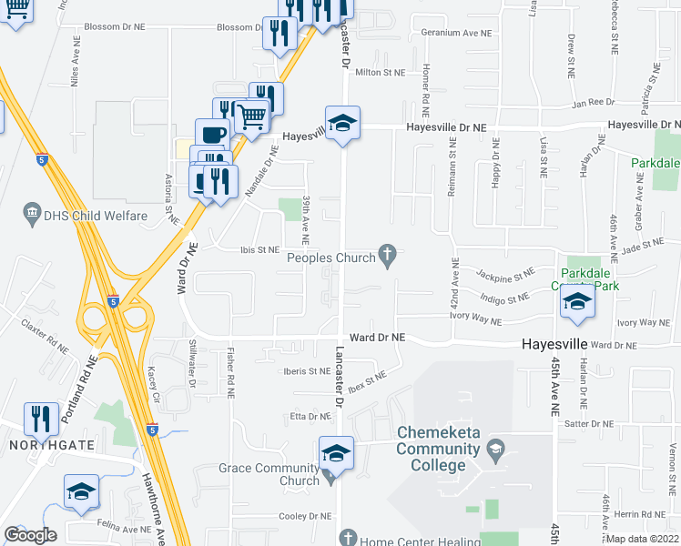 map of restaurants, bars, coffee shops, grocery stores, and more near 4598 North Newcastle Circle Northeast in Salem