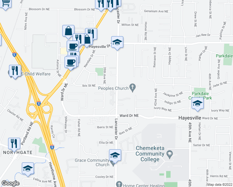 map of restaurants, bars, coffee shops, grocery stores, and more near 4481-4503 Lancaster Drive Northeast in Salem