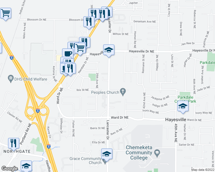 map of restaurants, bars, coffee shops, grocery stores, and more near 4553 Lancaster Drive Northeast in Salem