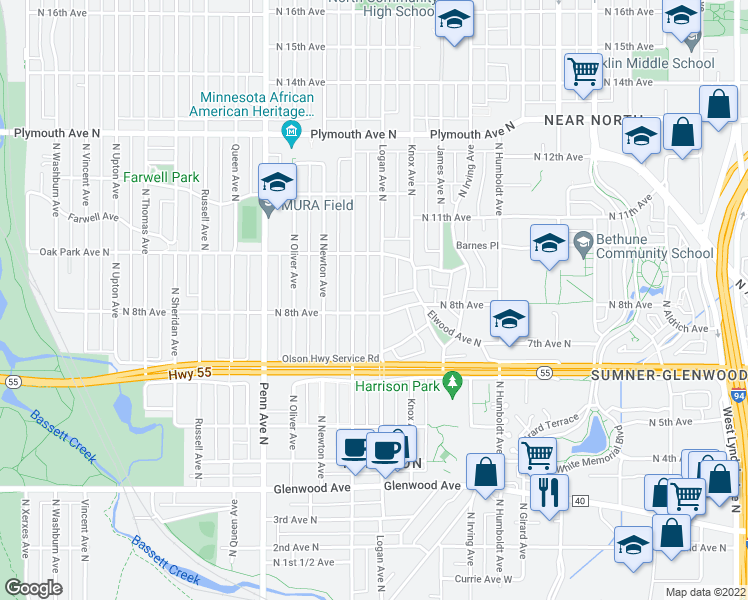 map of restaurants, bars, coffee shops, grocery stores, and more near 811 Logan Avenue North in Minneapolis