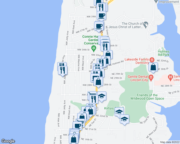 map of restaurants, bars, coffee shops, grocery stores, and more near 3244 Northwest Oar Avenue in Lincoln City