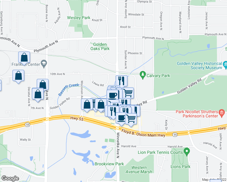 map of restaurants, bars, coffee shops, grocery stores, and more near 749 Winnetka Avenue North in Minneapolis