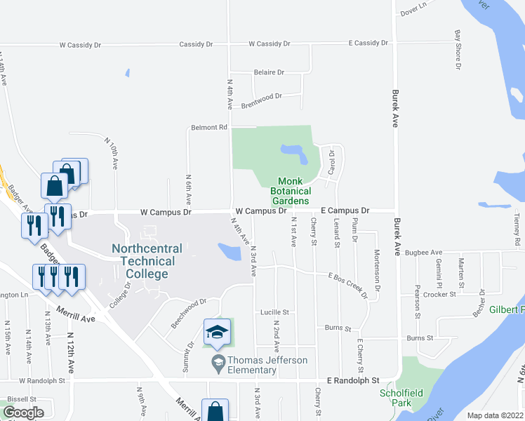 map of restaurants, bars, coffee shops, grocery stores, and more near 220 West Campus Drive in Wausau