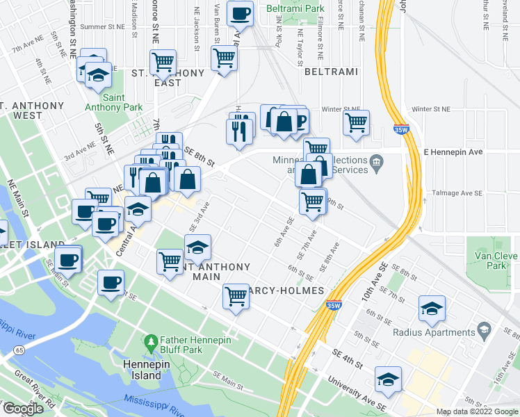 map of restaurants, bars, coffee shops, grocery stores, and more near 711 5th Avenue Southeast in Minneapolis