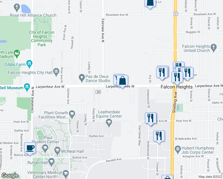 map of restaurants, bars, coffee shops, grocery stores, and more near 1818 Larpenteur Avenue West in Falcon Heights