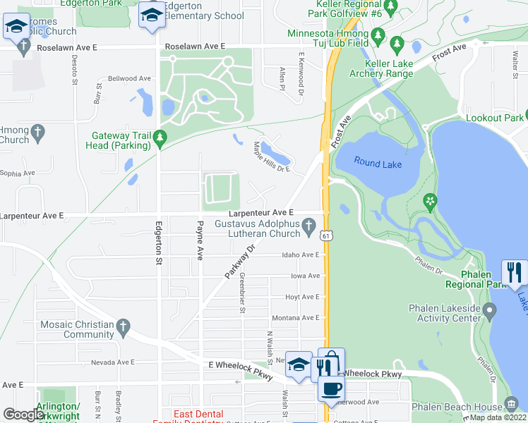 map of restaurants, bars, coffee shops, grocery stores, and more near 713 Larpenteur Avenue East in Saint Paul
