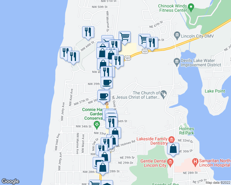 map of restaurants, bars, coffee shops, grocery stores, and more near 2211 Northeast 36th Drive in Lincoln City