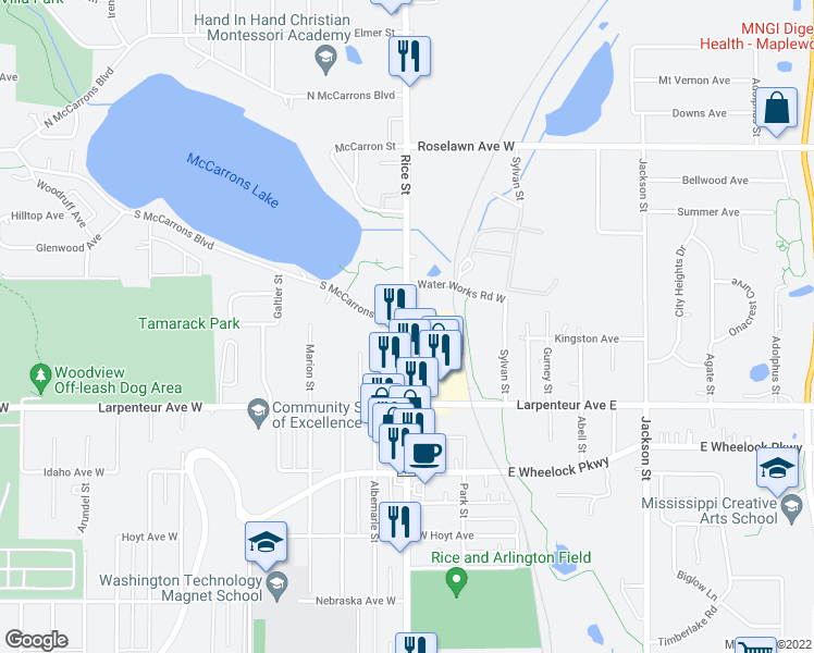 map of restaurants, bars, coffee shops, grocery stores, and more near Rice St & S McCarrons Blvd in Roseville