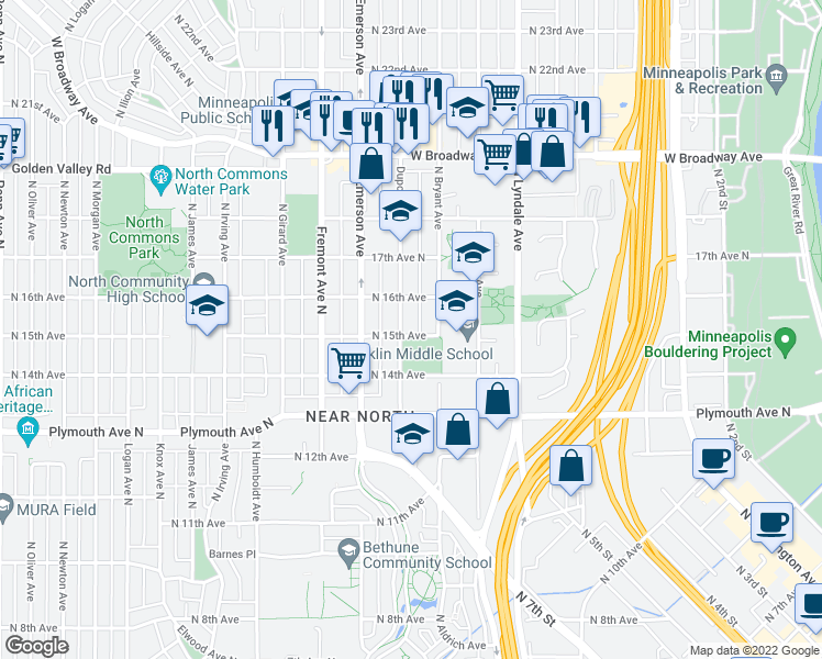 map of restaurants, bars, coffee shops, grocery stores, and more near 1500 Dupont Avenue North in Minneapolis
