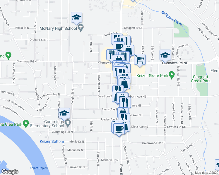 map of restaurants, bars, coffee shops, grocery stores, and more near 212-236 Churchdale Avenue North in Keizer
