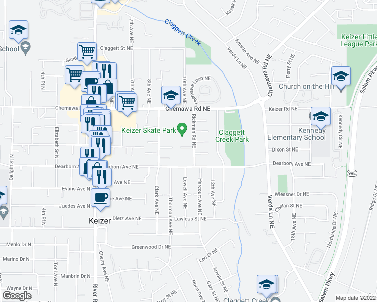 map of restaurants, bars, coffee shops, grocery stores, and more near 1070 Donnan Place Northeast in Salem