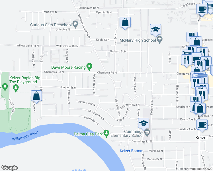 map of restaurants, bars, coffee shops, grocery stores, and more near 986 Eastwind Court North in Keizer