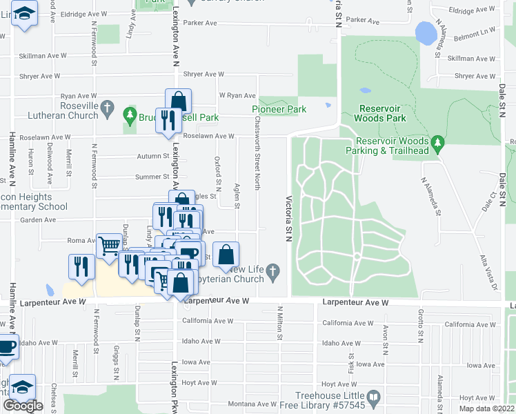 map of restaurants, bars, coffee shops, grocery stores, and more near 1800 North Chatsworth Street in Roseville