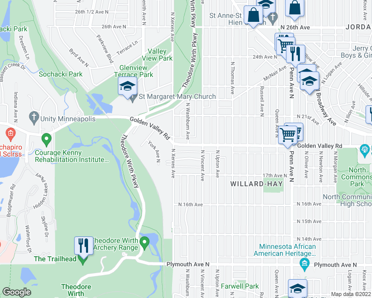 map of restaurants, bars, coffee shops, grocery stores, and more near 2903 Golden Valley Road in Minneapolis