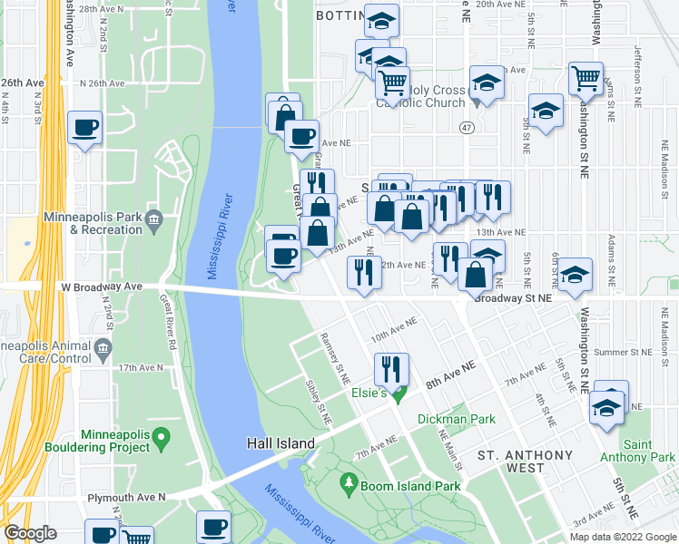 map of restaurants, bars, coffee shops, grocery stores, and more near 1215 Marshall Street Northeast in Minneapolis