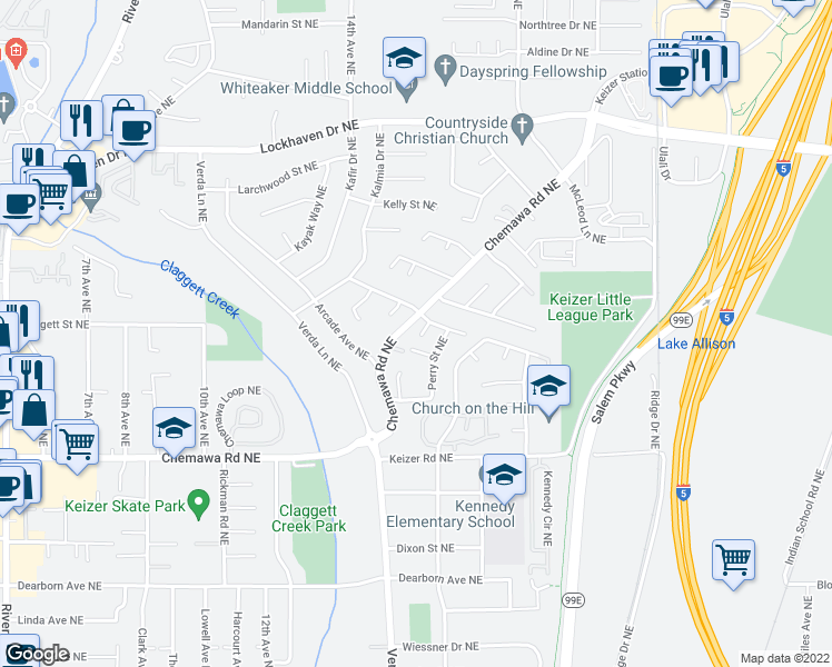map of restaurants, bars, coffee shops, grocery stores, and more near 5235 Patrick Lane Northeast in Keizer