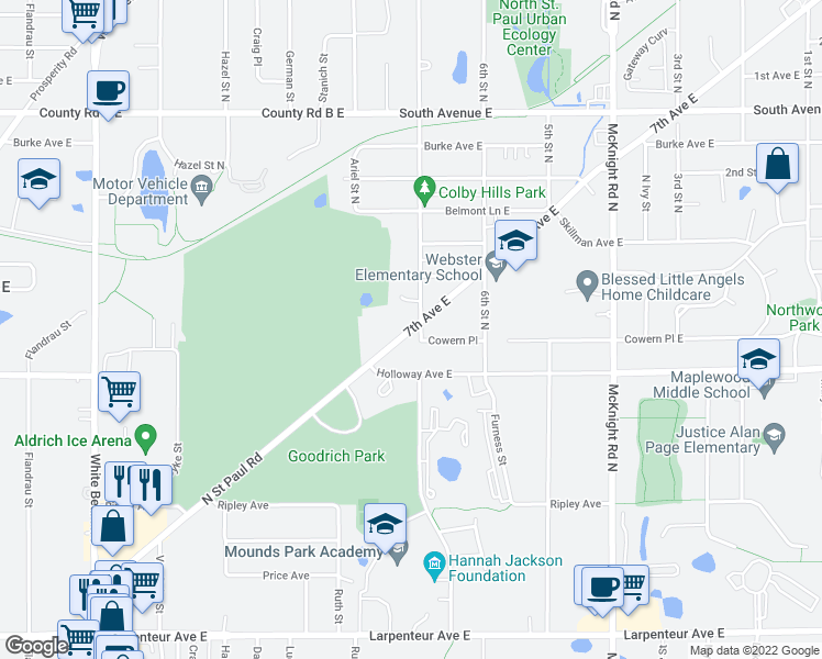 map of restaurants, bars, coffee shops, grocery stores, and more near 2065 7th Ave E in St Paul