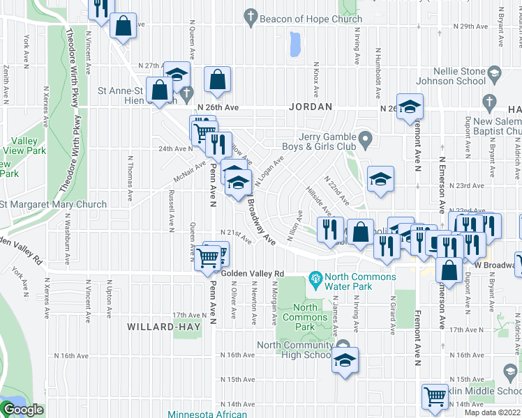 map of restaurants, bars, coffee shops, grocery stores, and more near 2000 West Broadway Avenue in Minneapolis