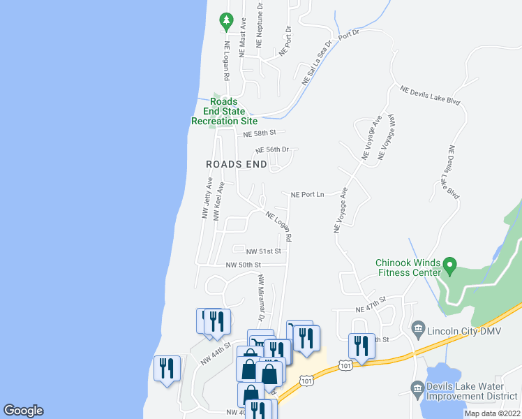 map of restaurants, bars, coffee shops, grocery stores, and more near 5298 Northwest 53rd Drive in Lincoln City