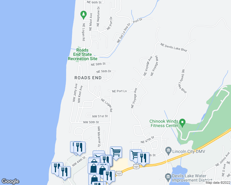 map of restaurants, bars, coffee shops, grocery stores, and more near 5338 Northeast Port Lane in Lincoln City