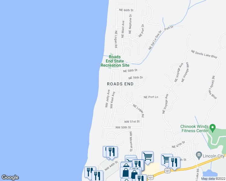 map of restaurants, bars, coffee shops, grocery stores, and more near 5515 Northwest Keel Avenue in Lincoln City