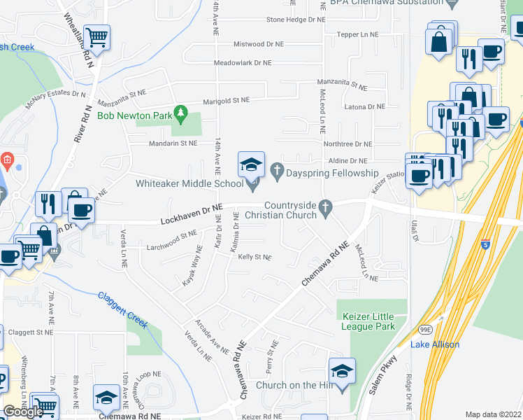 map of restaurants, bars, coffee shops, grocery stores, and more near 1644-1664 Lockhaven Drive Northeast in Keizer