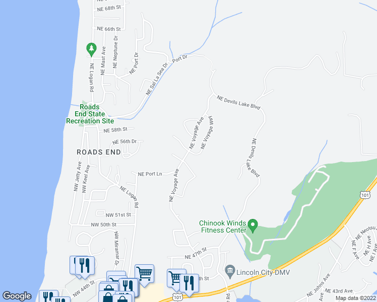 map of restaurants, bars, coffee shops, grocery stores, and more near 2532 Northeast 57th Court in Lincoln City