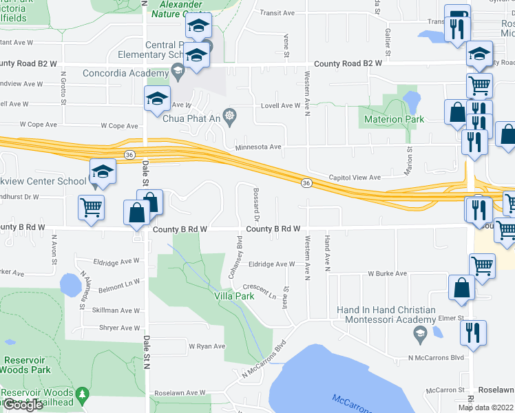 map of restaurants, bars, coffee shops, grocery stores, and more near 2201 Irene Street in Roseville