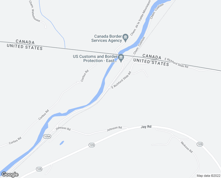 map of restaurants, bars, coffee shops, grocery stores, and more near 14 East Richford Slide Road in Richford