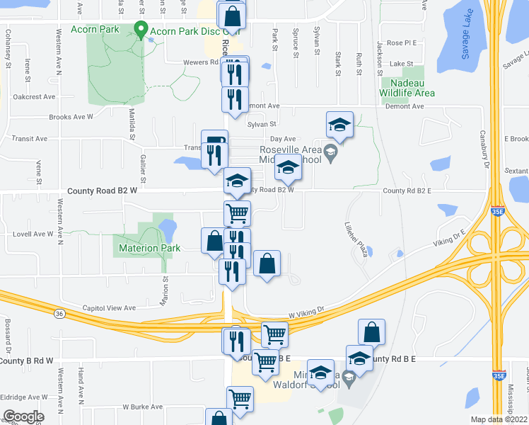 map of restaurants, bars, coffee shops, grocery stores, and more near 1 Saint Jude Medical Drive in Saint Paul