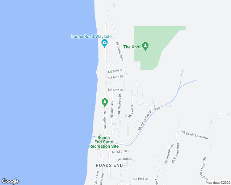 map of restaurants, bars, coffee shops, grocery stores, and more near 6542 Northeast Mast Avenue in Lincoln City