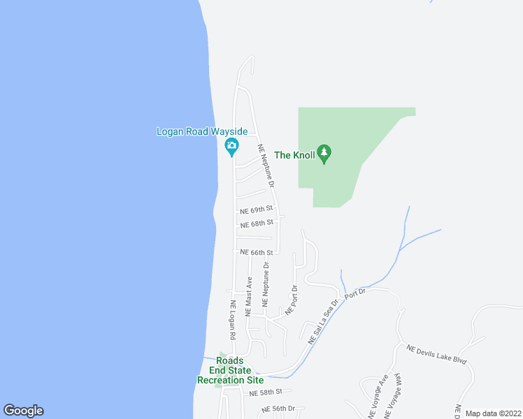 map of restaurants, bars, coffee shops, grocery stores, and more near 1925 Northeast 69th Street in Lincoln City