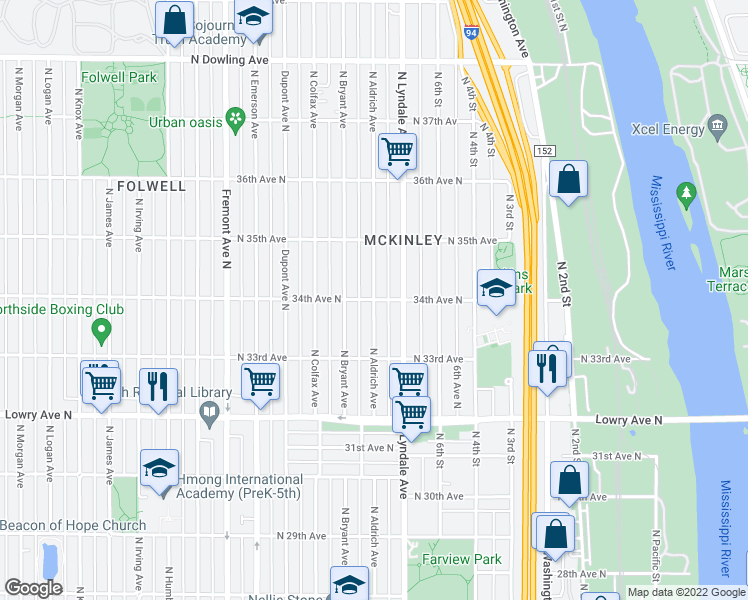 map of restaurants, bars, coffee shops, grocery stores, and more near N Aldrich Ave & N 34th Ave in Minneapolis