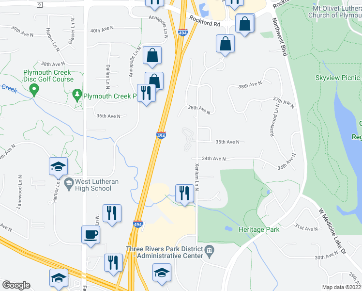 map of restaurants, bars, coffee shops, grocery stores, and more near 3501 Xenium Lane North in Plymouth