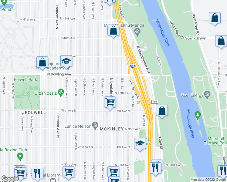 map of restaurants, bars, coffee shops, grocery stores, and more near 3700 Lyndale Avenue North in Minneapolis